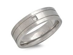 Titanium Band Ring w/ CZ