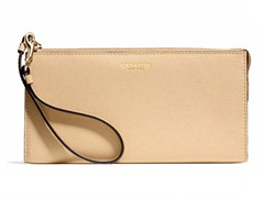 Coach Boxed Zippy Wallet in Saffiano Leather, Light Gold/Tan