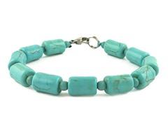 Genuine Turquoise Tube Bead Bracelet