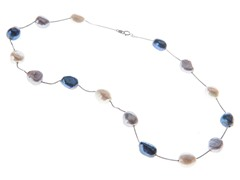 14kt White Gold Pearl Tin Cup Necklace