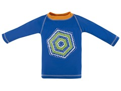 Blue Geo Tile: Rash Guard (3/6M-8Y)