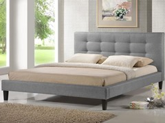 Quincy Gray Linen Platform Bed