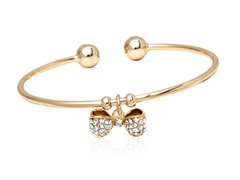Gold/White Swarovski Elements Bow Charm Bangle