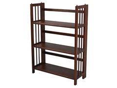 Folding 3 Tier Medium Bookcase - Walnut