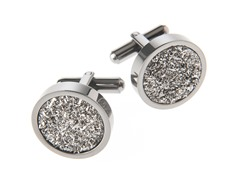 Polished Gunmetal SS & Genuine Silver Drusy Quartz Cufflinks