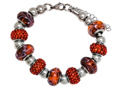 SS Murano Bracelet w/ Orange-Mix Charm
