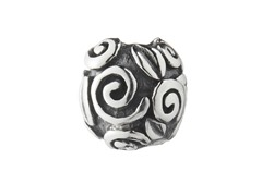 Sterling Silver Round Bead, Bali Scrolls