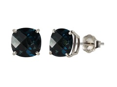 10K WG Stud Earrings, London Blue Topaz