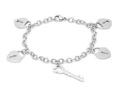 Stainless Steel Bracelet w/ Lock Key Charm