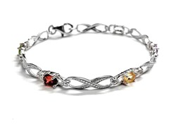 SS Oval Multicolor Genuine Stone Infinity Diamond Accent Tennis Bracelet