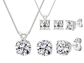 Swarovski Zirconia 3CT Pendant & Earring Sets