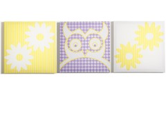 Pretty Owl Flowers Canvas- Set of 3