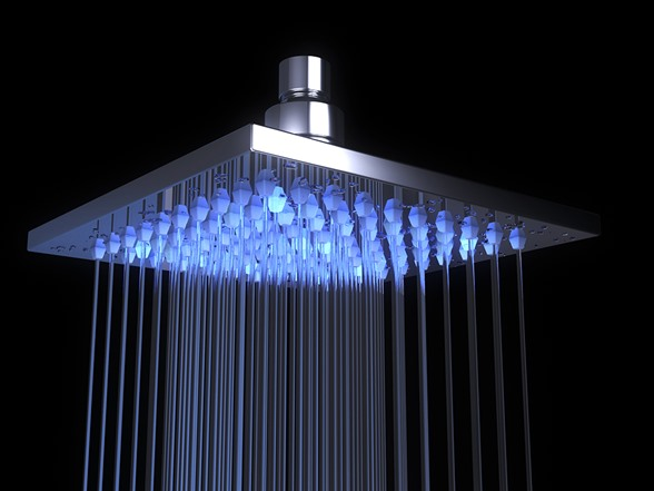 Oasis Stainless Steel Rain Shower Head With LED Tools Garden
