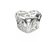 Sterling Silver Heart Bead w/ Cut Outs
