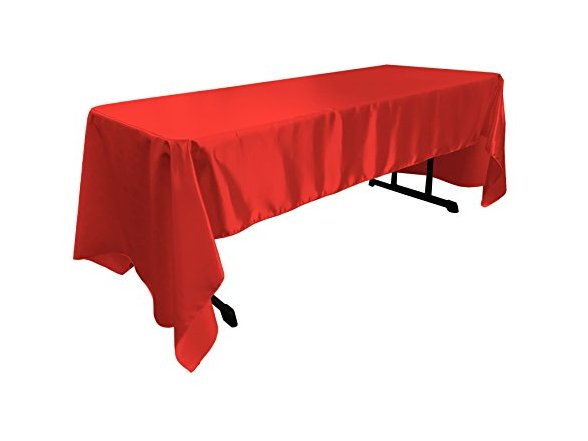 Incroyable LA Linen Bridal Satin Rectangular Tablecloth, 60 By 120 Inch, Red