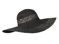 Oleander Wide Brim Sun Hat, Black/Silver