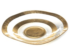 "Wave Bowl 18"" Gold Rim"