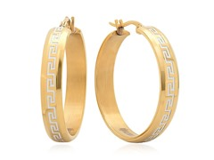 18kt Gold Plate Greek Key Accent Earring