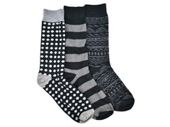 MUK LUKS ® Men's 3 Pair-Pack Crew Socks, Black