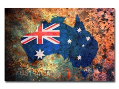 Australia Flag Map Canvas Art