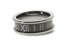 Tungsten Two-Tone Roman Numeral Ring