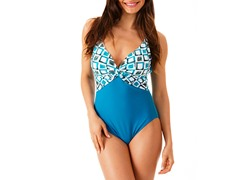 Ocean Jewel Twist Maillot Swimsuit, Turq