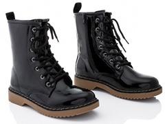 Rasolli Combat Boots, Black Patent