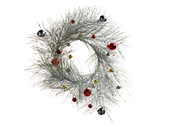 "Wreath 26"" Decorated Silver"