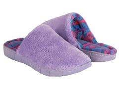 Flower Fairisle Scuff Slipper, Purple