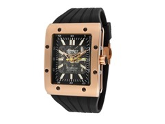 Men's Rose Gold Tone/Black Rubber Watch