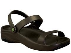Women's Premium 3-Strap Sandal, Dark Brown / Black