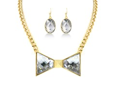 Gold-Plated White Bow Fancy Jewelry Set