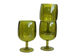 Green Plastic Wine Glasses, Set of 12