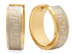 Two-tone 18kt Plated Greek Key Huggies
