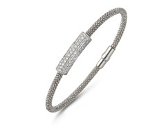 Sterling Silver Mesh CZ Magnetic Bangle