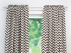 Village Rod Pocket Curtain Panel - Brown - 3 Lengths