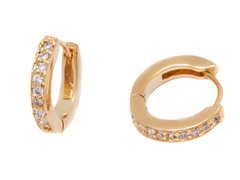 18k Plated CZ Huggie Earrings