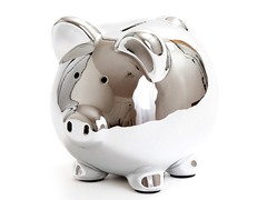 Ceramic Piggy Bank - Silver