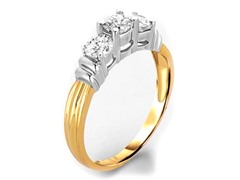 1.50 CTTW 3-Stone Round Diamond Ring - Yellow Gold