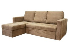 Linden Tan Microfiber Convertible Sectional / Sofa Bed