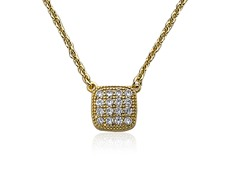 Riccova Retro Layering 14K Gold Plated Necklace CZ Square Charm Set