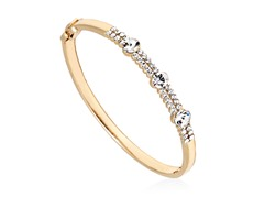 Gold/White Swarovski Elements Round Triple Stone Bangle