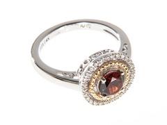 Silver & 14k Gold Garnet Ring