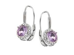 SS Amethyst Gemstone w/Diamond Leverback Earrings