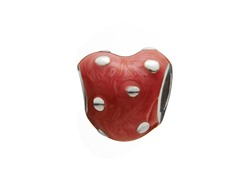Sterling Silver Heart Bead Red Enamel