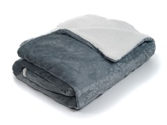 Fleece Blanket w/ Sherpa Backing- Grey