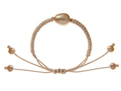 Freshwater Pearl, Knotted Cord Bracelet