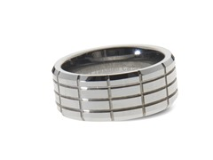 Tungsten Horizontal/Vertical Lines Ring