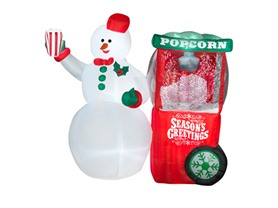Animated Airblown Snowman w/ Popcorn Machine