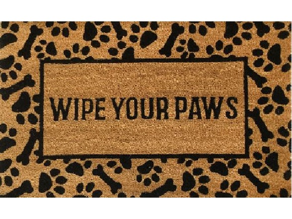 Outdoor Mat Wipe Your Paws Brown